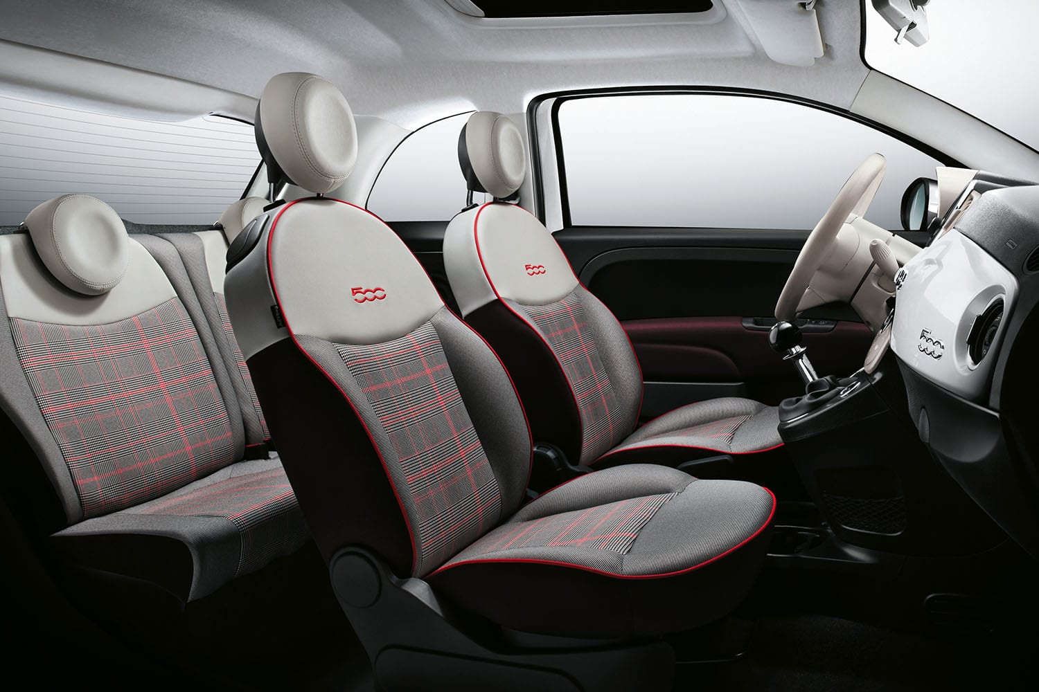 grijs wit interieur fiat 500 young