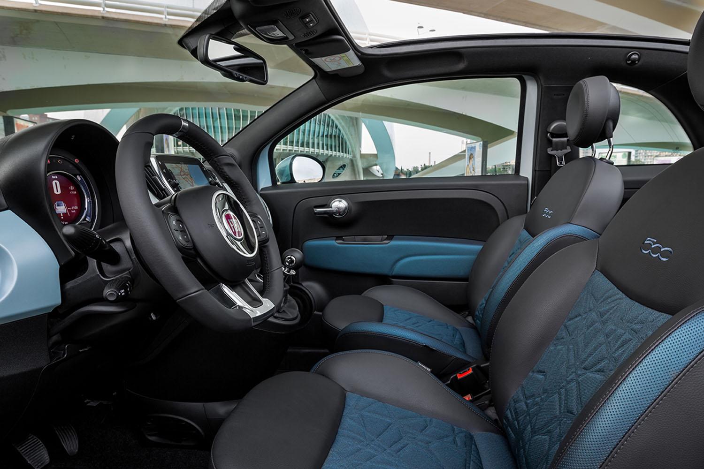 fiat 500 hybrid voorstoelen blauw met zwart